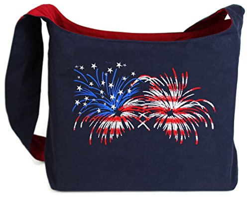 Dancing Participle Fireworks Flag Patriotic Embroidered Sling Bag