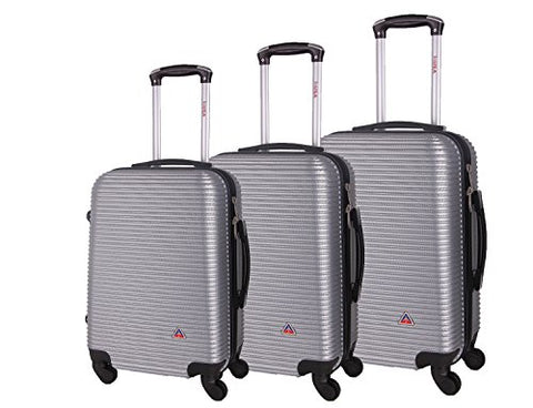 Inusa Royal Collection 3-Piece Lightweight Hardside Spinner Luggage Set Silver