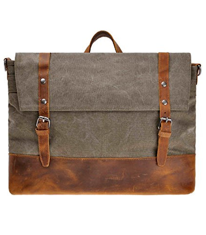 Canvas Messenger Bag Zlyc Leather Trim 15.6 Inch Laptop Bag Military Shoulder Bag Vintage Handbag