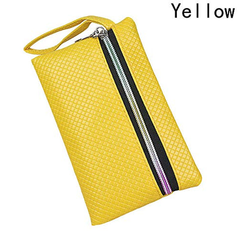 New 6 Colors Handy Women PU Coin Purse Lady Long Handbag Wallet Phone Bag (Color - Yellow)