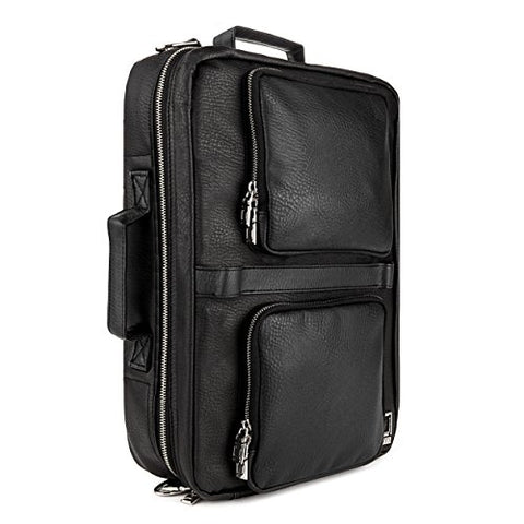 Lencca Quadra – Jet Black Multiple Purpose Backpack / Messenger Bag Fits Apple Macbook Pro Retina