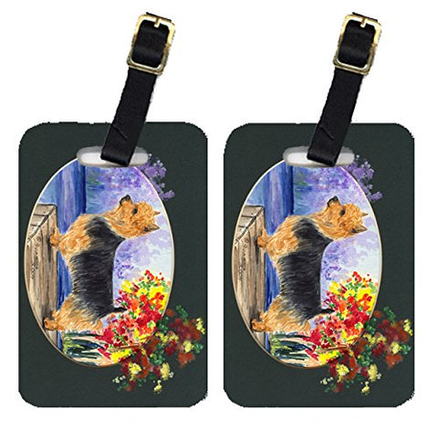 Caroline's Treasures SS8046BT Pair of 2 Australian Terrier Luggage Tags, Large, multicolor