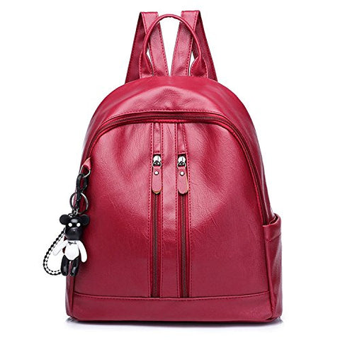 women's PU shoulder bag bark pattern fashion ladies backpack solid color anti-theft female bag,red