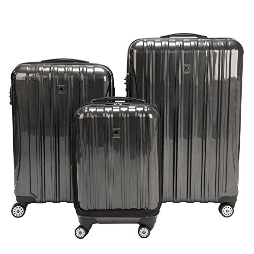 Delsey Luggage Aero 3 Piece Polycarbonate Hardside Spinner Luggage Set,Charcoal,One Size