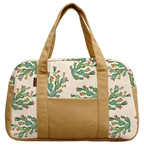 Women'S Cactus Pattern Printed Canvas Duffel Travel Bags Was_19