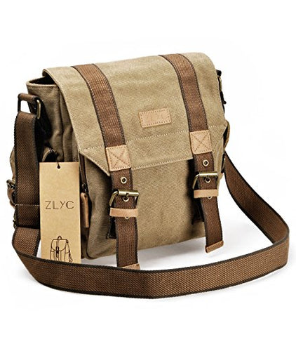 Canvas Messenger Bag Zlyc Vintange Shoulder Bag Military Crossbody Bag Ipad Air Satchel Men Leather