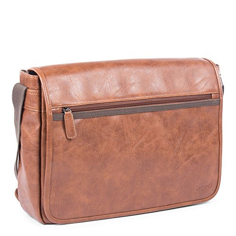 Bugatti Valentino Messenger Bag, Vegan Leather with Canvas Trim, Cognac