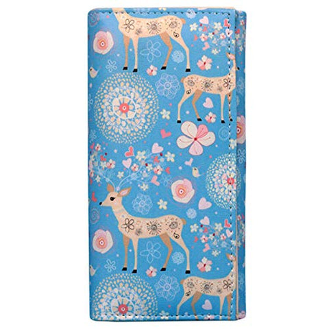 Creative Printing Women Leather Clutch Bag Wallet Long Card Holder Purse QP (Model - Deer)