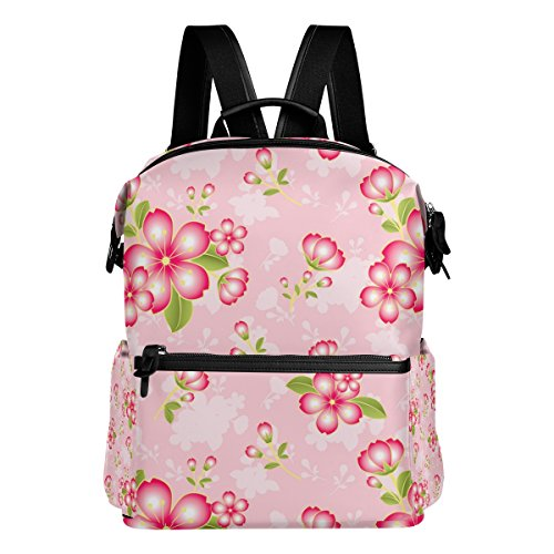 ColourLife Pink Flower Pattern Stylish Casual Shoulder Backpacks Laptop School Bags Travel Multipurpose Daypack for Women Girls Kids