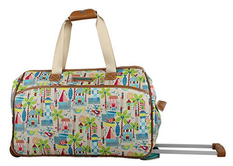Lily Bloom Luggage Designer Pattern Suitcase Wheeled Duffel Carry On Bag (14in, Beach House)