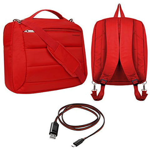 Vangoddy Bonni 3-In1 Laptop Messenger Bag Backpack Tote (Red) For Lenovo Yoga 710 15 / Ideapad Y700