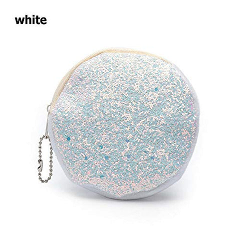Key Holder Mini Glitter Wallet Kids Coin Purse Sequins Handbag Party Clutch (Color - white)