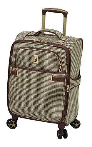 "London Fog Softside 20"" Spinner, Olive Houndstooth"