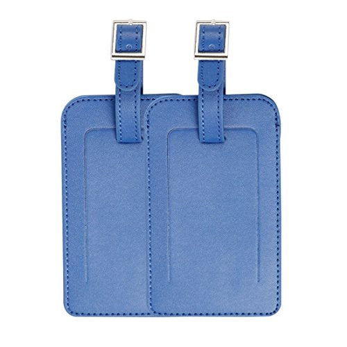 Uxcell Travel Luggage Tag PU Leather Suitcase Baggage Bag Name Address Telephone Message ID Label 2pcs Blue