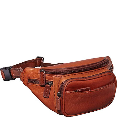 Mancini Leather Goods Colombian Leather Classic Waist Bag (Cognac)