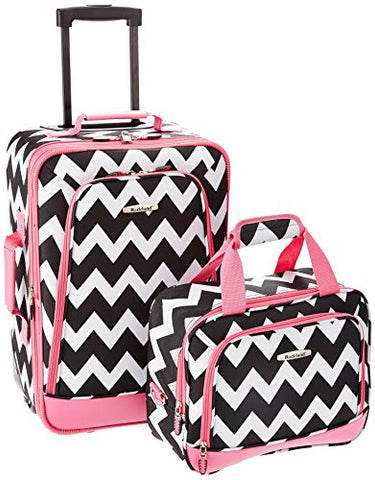 Rockland 2 Piece Expandable Luggage Set, Pink Chevron, One Size
