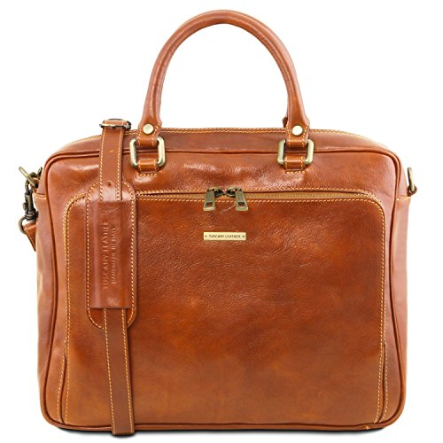 Tuscany Leather Pisa Leather laptop briefcase with front pocket Honey Leather laptop bags