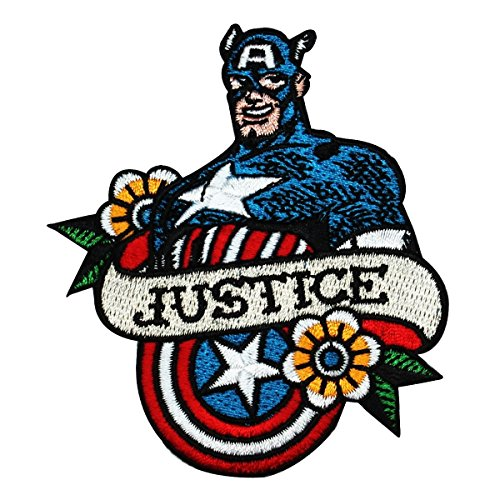 Retro Captain America Fan Justice IronOn Patch Marvel Hero Character Applique