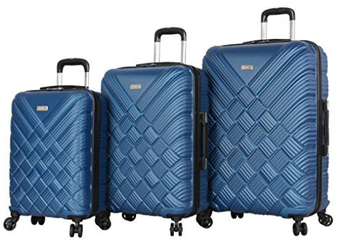 Nicole Miller New York Basket Weave Collection 3 Piece Hardside Luggage Set Spinner (One Size, Basket Weave Dark Lake Blue)