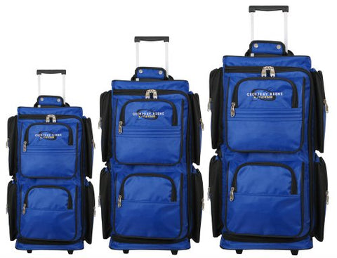 Geoffrey Beene 3 Piece Vertical Duffel Wheeler Set, Royal, One Size