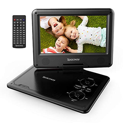 "Portable DVD Player 11.5"" with 5 Hours Rechargeable Battery by SPACEKEY, 9"" Swivel Screen, Support USB/SD Slot and 1.8M Car Charger, Support Memory and Region Free (Black)"