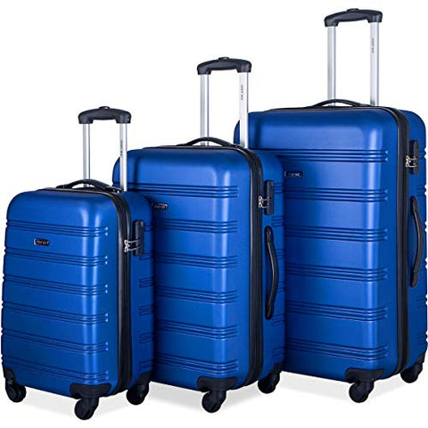 Merax Mellowdy 3 Piece Set Spinner Luggage Expandable Travel Suitcase 20 24 28 inch (blue)