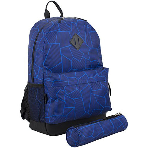 Eastsport Dome Backpack with FREE Pencil Case, Blue Geo Cracks Print