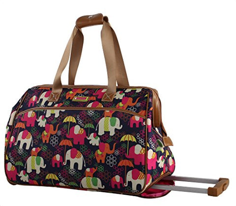 Lily Bloom Luggage Designer Pattern Suitcase Wheeled Duffel Carry On Bag (14in, Elephant Rain)