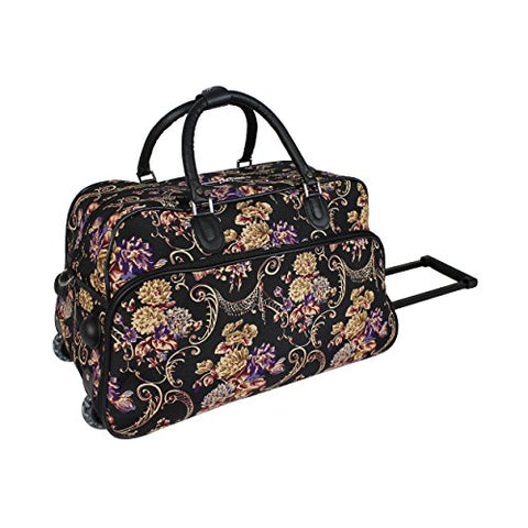 World Traveler 21-Inch Carry-On Rolling Duffel Bag, Classic Floral, One Size