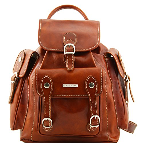 Tuscany Leather Pechino Leather Backpack Honey Leather Backpacks