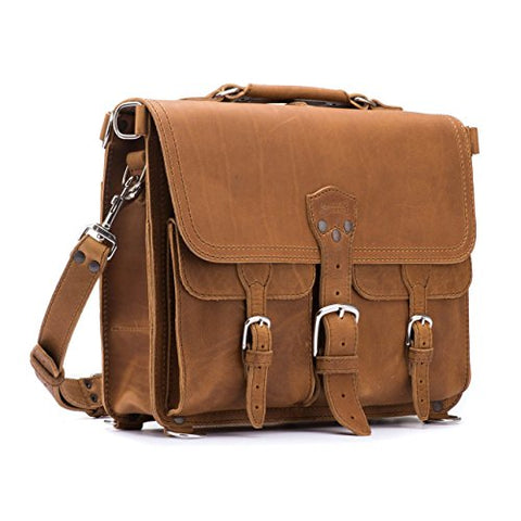 Saddleback Leather Thin Front Pocket Briefcase - 100% Full Grain Leather Laptop Bag with 100 Year Warranty