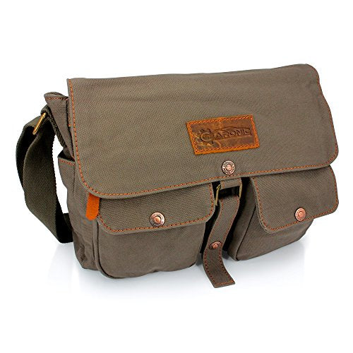 GEARONIC TM Men's Vintage Canvas Leather Tote Satchel School Military Shoulder Messenger Sling