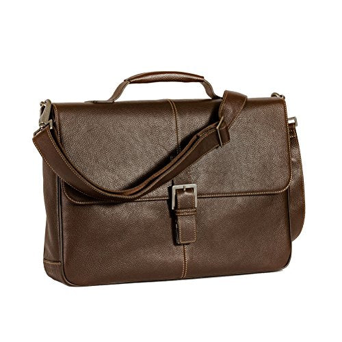 Boconi Tyler Tumbled Brokers Bag (Coffee With Khaki)