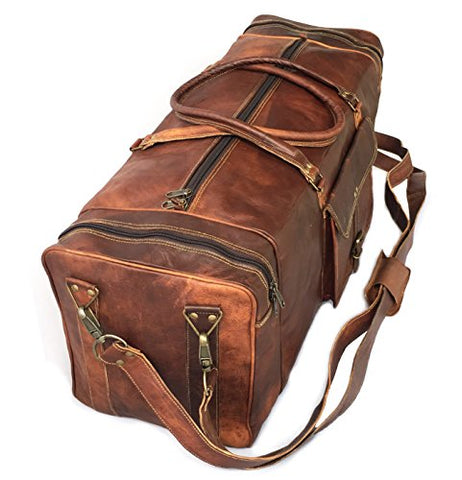 "28"" Inch Real Goat Vintage Leather Large Handmade Travel Luggage Bags In Square Big Large Brown Bag"