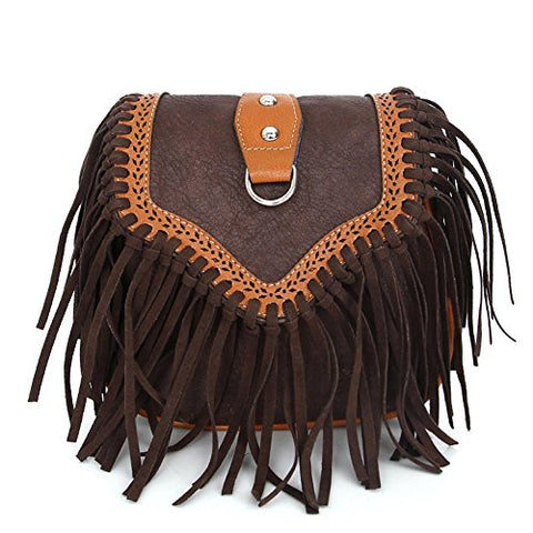 Bibitime Womens Retro Vintage Fringe Tassel Shoulder Bag Handbags Messenger Bag Girl Crossbody