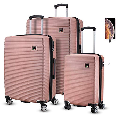 Villago Hardshell 3 Pc Set USB port (Carry-On) Polycarbonate 8 Wheel Spinner with Slash Proof Zipper TSA Lock and Expandable Zipper/Maleta De Viaje De Polycorbonato Con Candado TSA (ROSE GOLD)