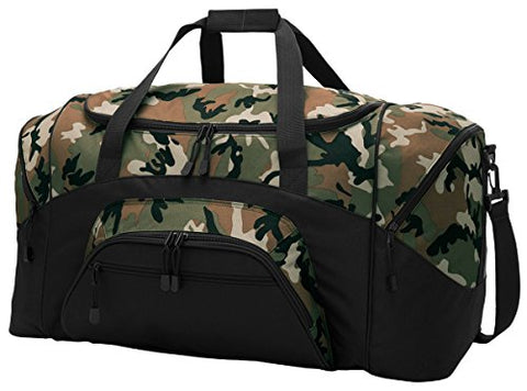 Port & Company Color Block Sport Zipper Duffel Bag_Camo/Black_Osfa