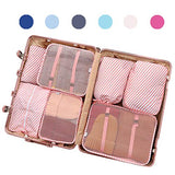 Luggage Organizer, Packing Cubes For Travel With Shoes Bags, Compression Cells, Accessories Bags Made With Wearable Waterproof Material. Perfect for Travel, Long Trips, Camping (Pink Stripe - 7 PCS)