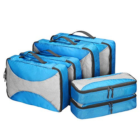 G4Free Packing Cubes 6pcs Set Travel Luggage Organizers Accessories Small, Medium, Large (Blue-6pcs)