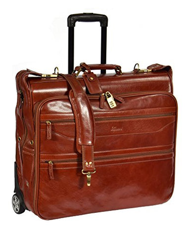 Real Leather Suit Garment Dress Carrier Travel Weekend Bag On Wheels A1236 Cognac