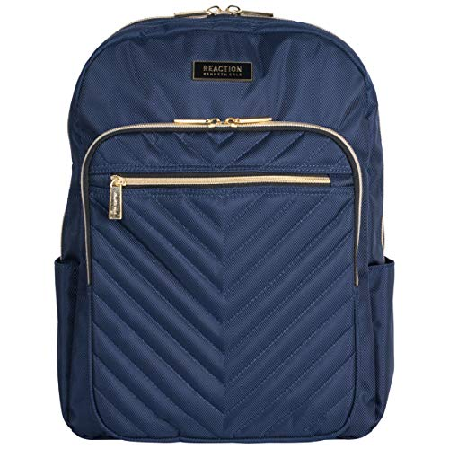 "Kenneth Cole Reaction Women's Chevron Quilted Polyester Twill 15.6"" Laptop Backpack, Navy One Size"
