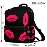 ColourLife Red Lips Stylish Casual Shoulder Backpacks Laptop School Bags Travel Multipurpose Daypack for Women Girls Kids