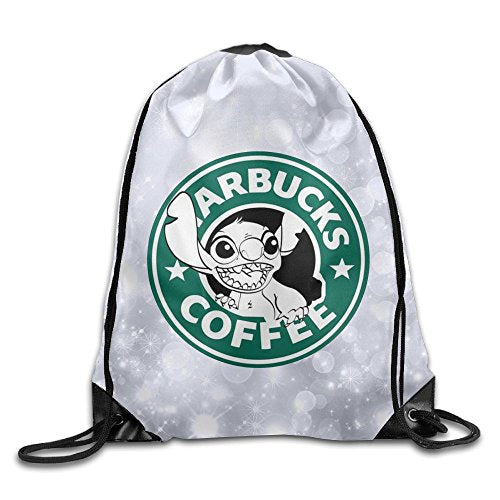 Gtaiquxin Lilo And Stitch Starbucks Coffee Logo Unisex Drawstring Gym Sack Sport Bag
