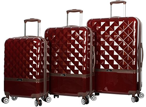 "Nicole Miller New York Madison Collection Hardside 3-Piece Spinner Luggage Set: 28"", 24"", and 20"" (One Size, Madison Burgundy)"