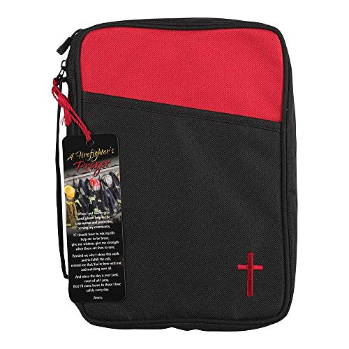 Firefighter'S Prayer Red And Black Canvas Thinline Bible Cover Case With Handle
