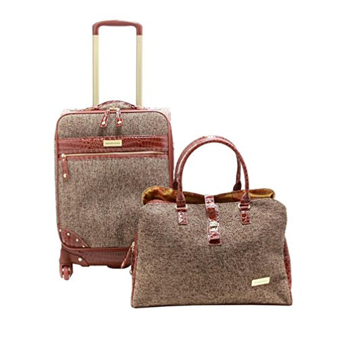 "Samantha Brown Tweed 2-Piece 21"" Spinner And Shoulder Bag Luggage Set - Tan"