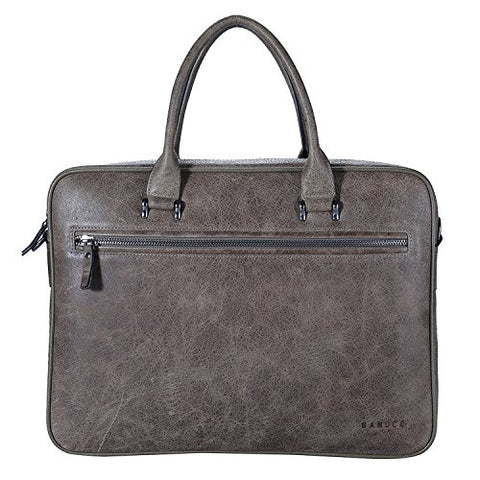 "Banuce Grey Vintage Full Grain Italian Leather Briefcase for Men Business Attache Case 14"" Laptop"