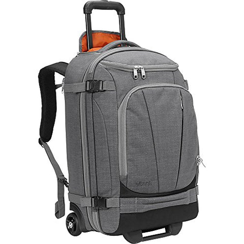 "eBags TLS Mother Lode Rolling Weekender 22"" Travel Backpack with Wheels - Carry-On - (Heathered Graphite)"