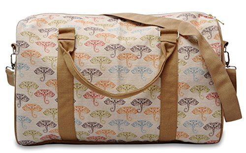 Pattern With Doodle Elephants Printed Canvas Duffle Luggage Travel Bag Was_42