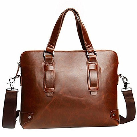 Business Laptop Briefcase Handbag Berchirly PU Leather Computer Messenger Shoulder Bag For Men